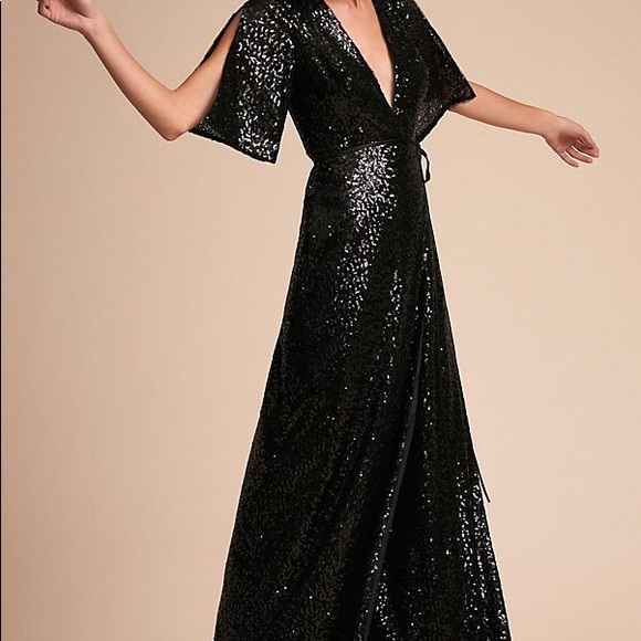 42f17955ae67 Anthropologie Dresses | Black Sequined Elegant Floor Length Wrap ...